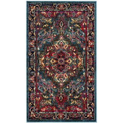 Antoine Light Blue/Fuchsia Area Rug Rug Size: Rectangle 3 x 5