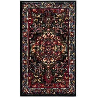 Antoine Black/Red Area Rug Rug Size: Rectangle 3 x 5