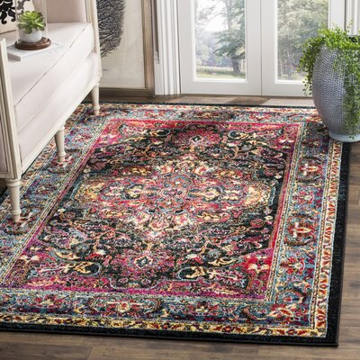 Antoine Black/Red Area Rug Rug Size: 8 x 10