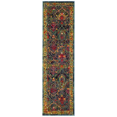 Antoine Blue/Red Area Rug Rug Size: Runner 23 x 8