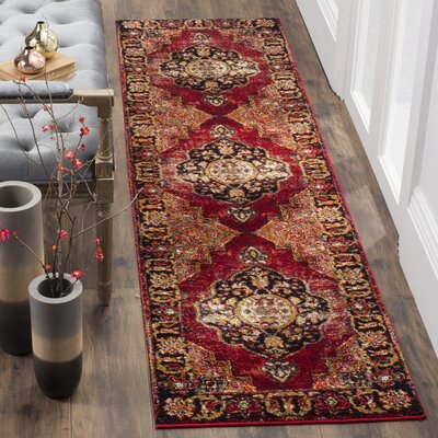 Parthenia Red Area Rug Rug Size: 53 x 76