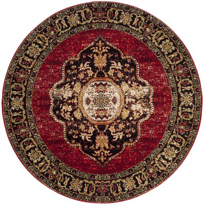 Fitzpatrick Red Area Rug Rug Size: Round 6'7
