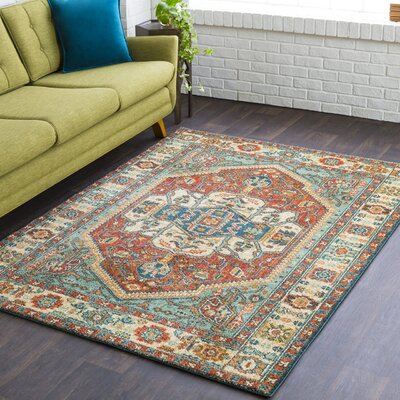 Naranjo Sea Foam/Rust Area Rug Rug Size: Rectangle 93 x 126