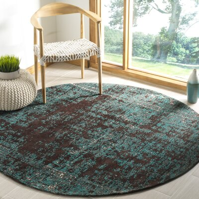 Khemis Blue/Brown Area Rug Rug Size: Round 6