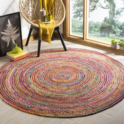 Bowen Hand-Woven Red/Yellow Area Rug Rug Size: Round 5