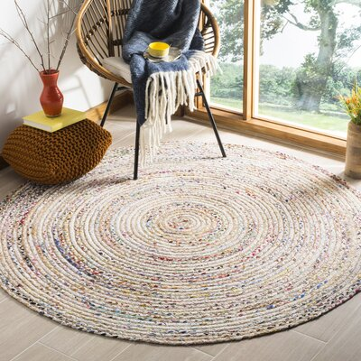 Bowen Hand-Woven Beige/Yellow Area Rug Rug Size: Round 5