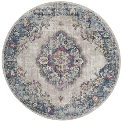 Fitzhugh Light Gray/Blue Area Rug Rug Size: Round 7