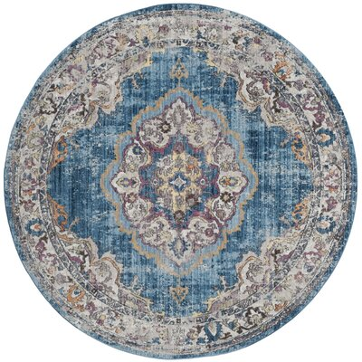 Fitzhugh Blue/Light Gray Area Rug Rug Size: Round 7