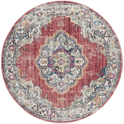 Fitzhugh Rose/Light Gray Area Rug Rug Size: Round 7