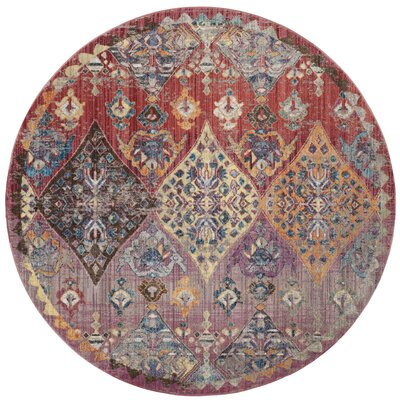 Culross Rose/Purple Area Rug Rug Size: Round 7