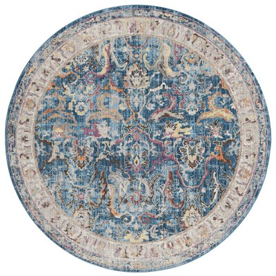 Fitz Blue/Light Gray Area Rug Rug Size: Round 7
