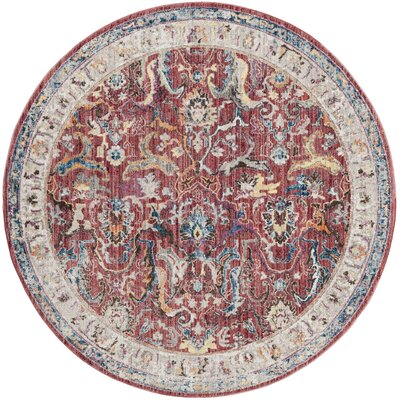 Fitz Rose/Light Gray Area Rug Rug Size: Round 7