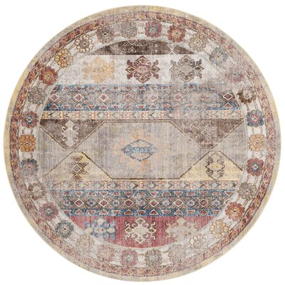 Skye Brown/Pink Area Rug Rug Size: Round 7