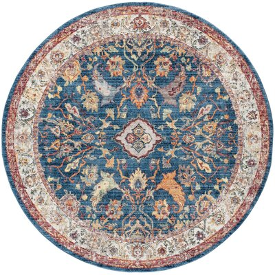 Amiens Blue Area Rug Rug Size: Round 7