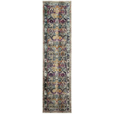 Wayne Cream/Green Area Rug Rug Size: Runner 22 x 8