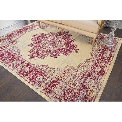 Nassirah Cream/Red Indoor Area Rug Rug Size: 710 x 910