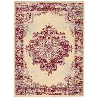 Nassirah Cream/Red Indoor Area Rug Rug Size: 53 x 73