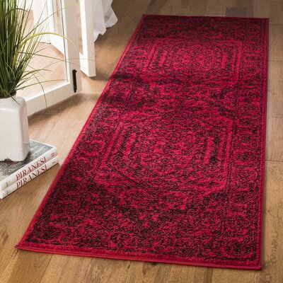 Nemisco Red/Black Area Rug Rug Size: Runner 26 x 22