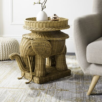 Frazier Elephant Rattan End Table Color: Natural