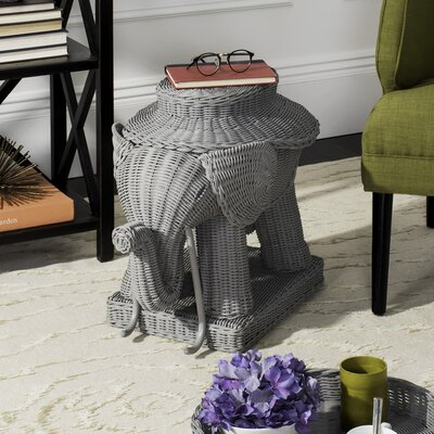 Frazier Elephant Rattan End Table Color: Gray