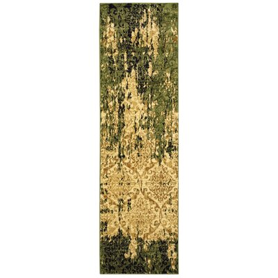 Fayme Green/Tan Area Rug Rug Size: Runner 21 x 75