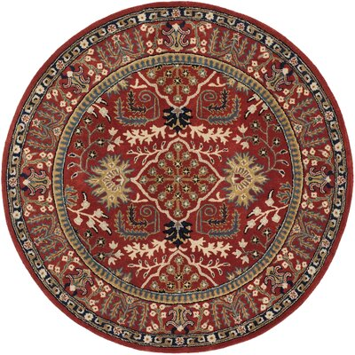 Genemuiden Hand-Tufted Red Area Rug Rug Size: Round 6