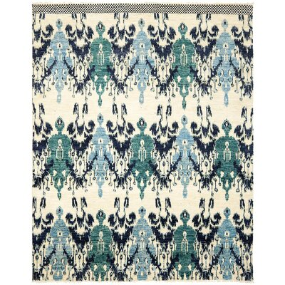 Almeda Hand-Knotted Ivory/Navy Area Rug