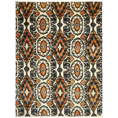 Almonburry Hand-Knotted Ivory/Rust Area Rug Rug Size: Rectangle 8 x 10