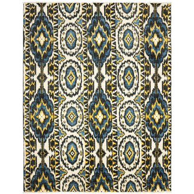 Almonburry Hand-Knotted Ivory/Blue Area Rug Rug Size: Rectangle 8 x 10