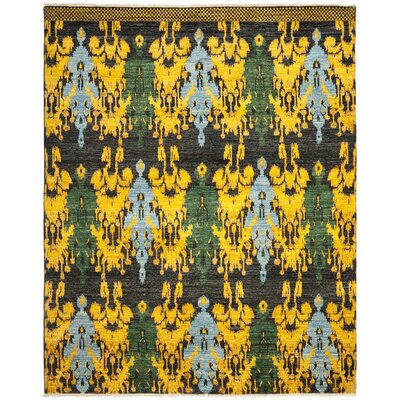 Almeda Hand-Knotted Black/Gold Area Rug Rug Size: Rectangle 8 x 10