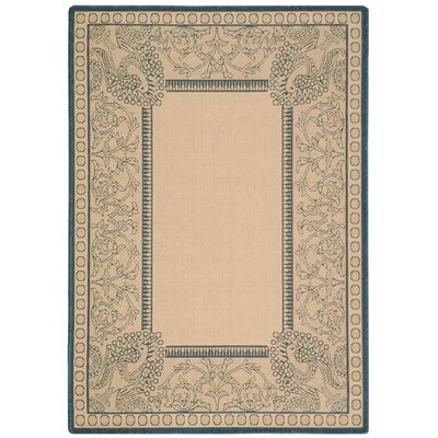 Catori Natural / Blue Outdoor Area Rug Rug Size: Rectangle 4 x 57