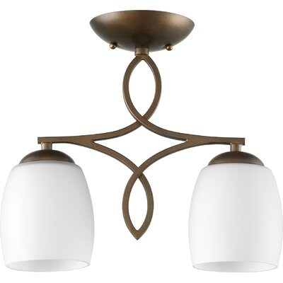 Mcguire 2-Light Semi Flush Mount Fixture Finish: Oiled Bronze, Shade Color: Satin Opal