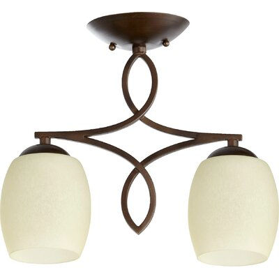 Mcguire 2-Light Semi Flush Mount Finish: Oiled Bronze, Shade Color: Satin Opal