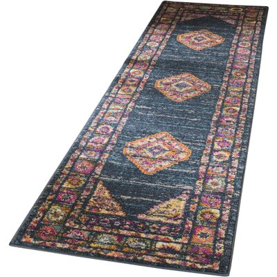 Carrillo Blue/Fuchsia Area Rug Rug Size: Runner 23 x 8