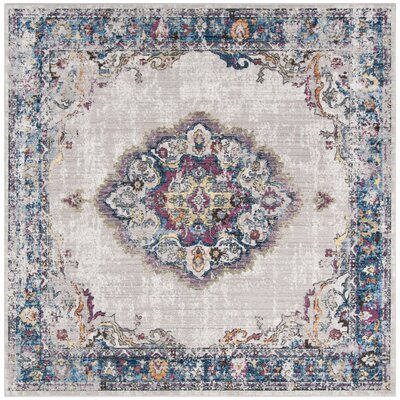 Fitzhugh Light Gray/Blue Area Rug Rug Size: Square 7'