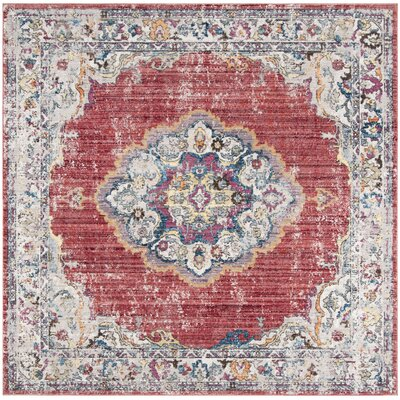 Fitzhugh Rose/Light Gray Area Rug Rug Size: Square 7