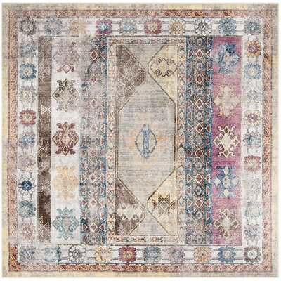 Skye Brown/Pink Area Rug Rug Size: Square 7