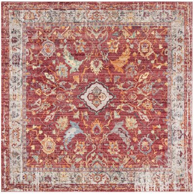 Amiens Rose/Light Gray Area Rug Rug Size: Square 7