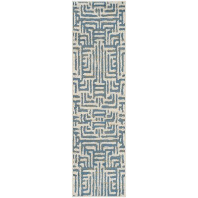 Vadim Ivory/Light Blue Area Rug Rug Size: Runner 23 x 8