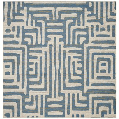Vadim Ivory/Light Blue Area Rug Rug Size: Square 67