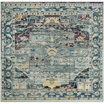 Clavier Teal/Purple Area Rug Rug Size: Square 7