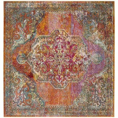 Jara Orange  Area Rug Rug Size: Square 5