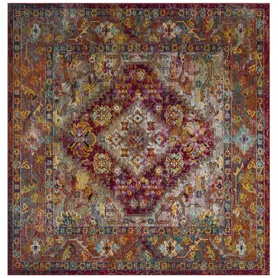 Vivace Light Blue/Fuchsia Area Rug Rug Size: Square 7