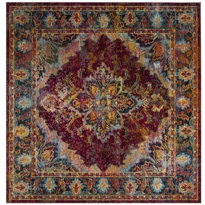 Mabel Ruby/Navy Area Rug Rug Size: Square 7
