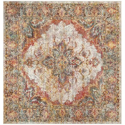 Mabel Cream/Rose Area Rug Rug Size: Square 7