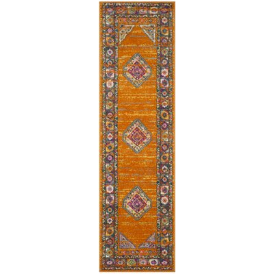 Grieve Orange/Fuchsia Area Rug Rug Size: Runner 23 x 12