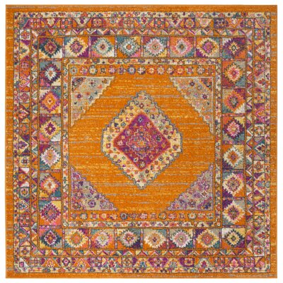 Carrillo Orange/Fuchsia Area Rug Rug Size: Square 67