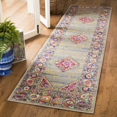 Grieve Light Gray/Fuchsia Area Rug Rug Size: Runner 23 x 8
