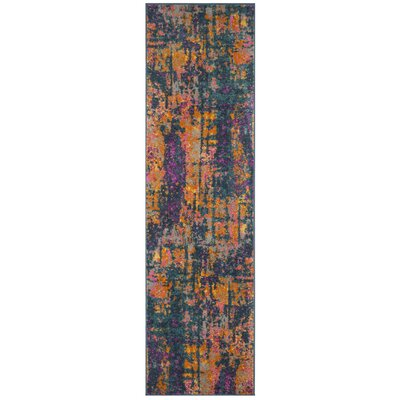 Grieve Blue/Orange Area Rug Rug Size: Runner 23 x 8