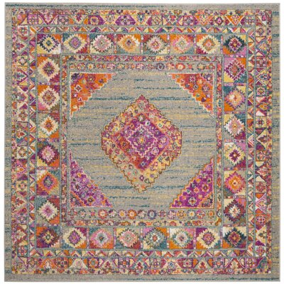 Grieve Light Gray/Fuchsia Area Rug Rug Size: Square 67